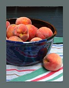 Peaches Framed Prints - Peaches with Striped Cloth-III Framed Print by Patricia Overmoyer