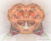 Symetrical Posters - Peachy Fractal Art Poster by Suzanne Schaefer