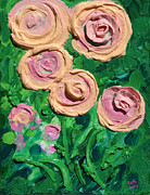 Acrylic Art Reliefs Prints - Peachy Roses Taking Form Print by Ruth Collis