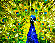 Vibrant Feathers Posters - Peacock Abstract Realism Poster by Zeana Romanovna