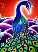Color Purple Framed Prints - Peacock Framed Print by Adam Gillespie