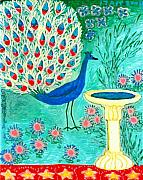 Red Ceramics Prints - Peacock and Birdbath Print by Sushila Burgess