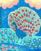 Birds Ceramics Posters - Peacock and lily pond Poster by Sushila Burgess