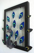 Dichroic Art Glass Glass Art Originals - Peacock Art by Sandy Feder