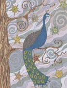 Peacock Drawings Metal Prints - Peacock Dreams Metal Print by Pamela Schiermeyer
