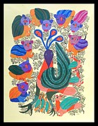 Gond Tribal Art Painting Originals - Peacock by Durga Bai Vyam
