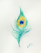 Oddball Art Painting Prints - Peacock Feather 2 Print by Oddball Art Co by Lizzy Love