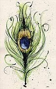 Yellow Mixed Media Metal Prints - Peacock Feather Metal Print by Mark M  Mellon