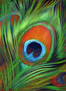 Iridescent Painting Posters - Peacock Feather Poster by Nancy Tilles