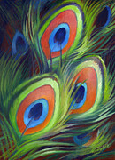 Iridescent Painting Posters - Peacock Feathers Poster by Nancy Tilles