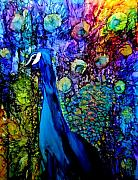 Alcohol Ink Prints - Peacock II Print by Karen Walker