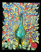 Peacock Pyrography Acrylic Prints - Peacock Acrylic Print by Mike Holder