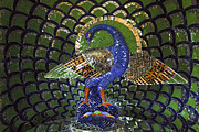 Wildlife Sculpture Acrylic Prints - Peacock Mosaic Acrylic Print by Kantilal Patel