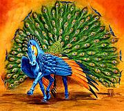 Featured Mixed Media Originals - Peacock Pegasus by Melissa A Benson