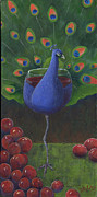 Wine And Art Posters - Peacock Pinot Poster by Debbie McCulley