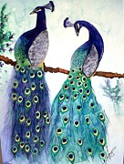 Birg Paintings - Peacocks I by Paula Steffensen