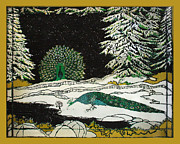 Beardedladygreetings Tapestries - Textiles Prints - Peacocks in the Snow Print by Alexandra  Sanders