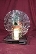 Lamp Glass Art - Peacok Spiral by Cedric Vironneau