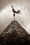 Weather Vane Prints - Peaked Rooster - Sepia Print by Christopher Holmes