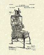Vegetables Drawings Posters - Peanut Roaster or Corn Popper 1893 Patent Art Poster by Prior Art Design