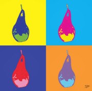 Popart Painting Prints - Pear 12 Print by Flo Ryan