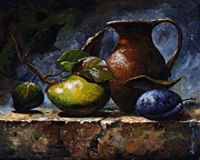 Fruit Still Life Mixed Media Framed Prints - Pear and plum Framed Print by Emerico Imre Toth