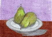 Pears Drawings Framed Prints - Pear in a Bowl Framed Print by MaryLee Parker