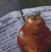 Kristine Kainer Paintings - Pear Meets Cookbook by Kristine Kainer