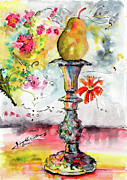 Watercolor And Ink Paintings - Pear On Candle Stick by Ginette Fine Art LLC Ginette Callaway