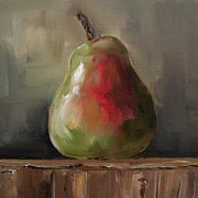 Kristine Kainer Paintings - Pear on Wooden Crate by Kristine Kainer