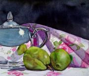 Silver Tea Pot Paintings - Pear Still Life by Lori  Andrews