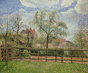 Blue Walls Prints - Pear Trees and Flowers at Eragny Print by Camille Pissarro