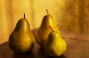 Pears Prints - Pear Trio Print by Rebecca Cozart