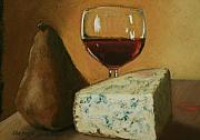Wine-glass Pastels Framed Prints - Pear Wine and Cheese Framed Print by Marion Derrett
