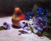 Jill Brabant - Pear with  Purple Pansies