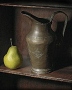 Still Life Pyrography Framed Prints - Pear With Water Jug Framed Print by Krasimir Tolev