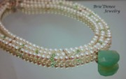 White Pearl Jewelry - Pearl and Peridot 3 strand Necklace by Brittney Brownell