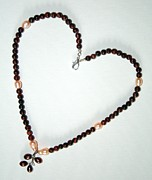 Peach Jewelry Originals - Pearl and Red Tigers Eye by Christina A Pacillo