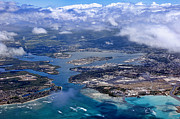 Airlines Photos - Pearl Harbor Aerial View by Dan McManus