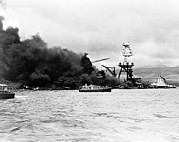 Battleship Photos - Pearl Harbor, Wreckage Of Uss Arizona by Everett