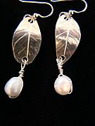 Earrings Jewelry - Pearl Leaves by Kimberly Clark - Dragonfly Studios
