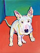 Staffordshire Bull Terrier Paintings - Pearl by Pat Saunders-White