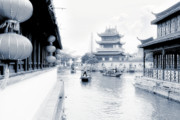 Waterways Prints - Pearl Stream River Blues - Zhujiajiao near Shanghai Print by Christine Till