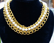 Gold Necklace Prints - Pearls and Chains Print by Susan Geluz