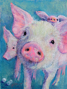 Pig Pastels Framed Prints - Pearls Before Swine Framed Print by Julia Patterson