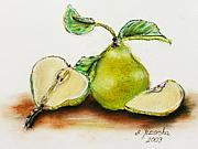 Leaf Pastels Originals - Pears - pieces by Agnieszka Jezierska-Drutel