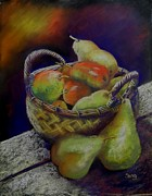 Basket Pastels Posters - Pears and Apples Poster by Sandra Sengstock-Miller