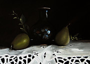 Base Paintings - Pears and Base by Jose Luis Reyes