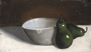 Illustrative Pastels Prints - Pears and Bowl Print by L Cooper