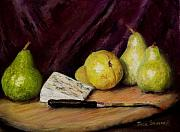 Cheese Green Pears Prints - Pears and Cheese Print by Jack Skinner